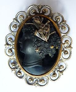 luxuriant dans la conception Clairance de 60% 2019 meilleures ventes Détails sur Broche avec camée pâte de verre brooch Bijou vers 1860 Napoléon  III cameo femme