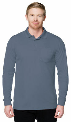 Tri-Mountain Men/'s New Moisture Wick Long Sleeve Pocket Pique Polo Shirt.K020PLS