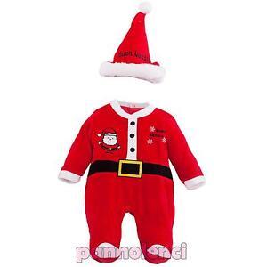Bambino-neonato-tutina-Babbo-Natale-cappellino-pagliaccetto-nuovo-XNO-386