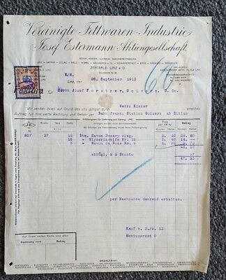alte rechnung 1913 aus linz vereinigte fettwaren industrie. Black Bedroom Furniture Sets. Home Design Ideas