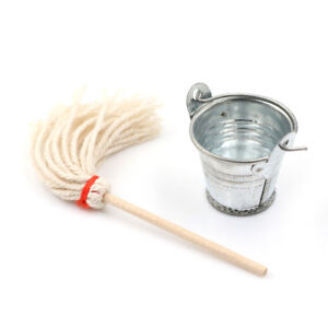 1-12-Dollhouse-miniature-vegetable-garden-furniture-cleaning-Mop-bucket-US