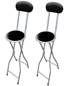 Détails sur 2 xblack rembourré pliant chaise haute petit déjeuner cuisine PVC Tabouret de bar soft siège 94 cm afficher le titre d'origine