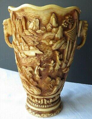 Gewidmet Asiatische Speckstein Vase 24 Cm Hoch Elfenbeinfarbig Henkel Mit Elefanten 2,8kg