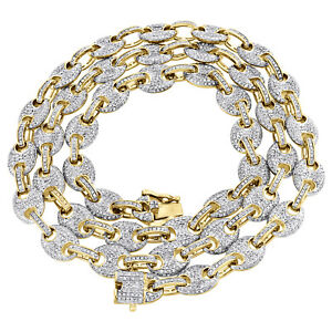 98ccb55a9 Solid 10K Yellow Gold 8mm Puff Gucci Link Diamond Chain 24