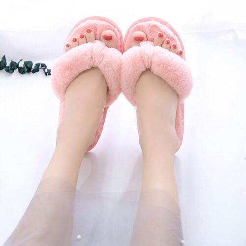 Womens Shoes Faux Fur Furry Slippers Fluffy Home Indoor Multi Colors Flip Flops