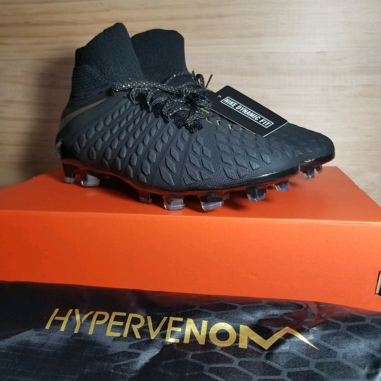 NEW Men's Nike Hypervenom 3 III Elite DF FG Cleats Black gold Size 9 AJ3803-090