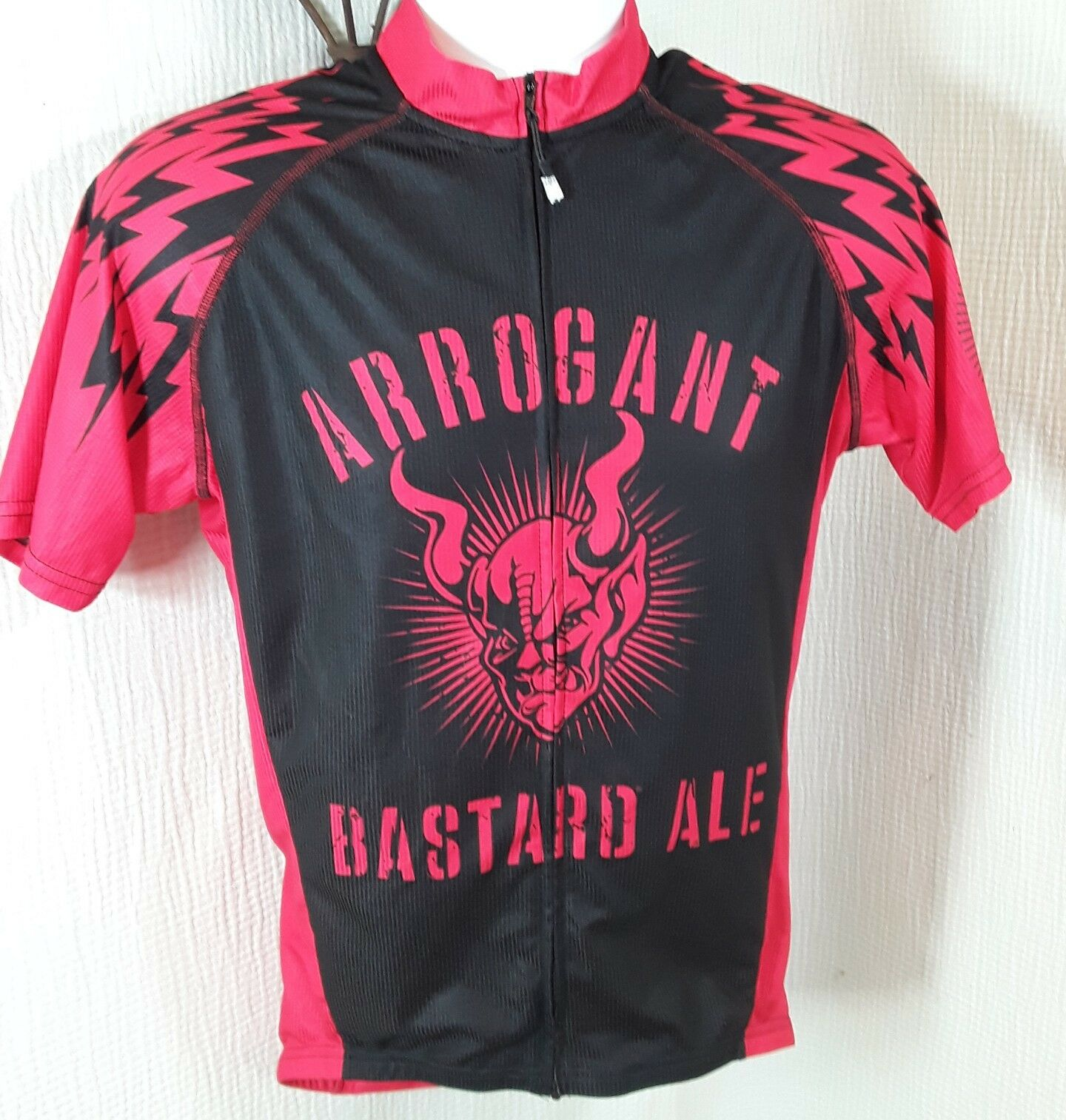 Canari Men's Cycling Jersey M  Arrogant Bastard Ale Full Zip Demon Devil 97 Red  support wholesale retail