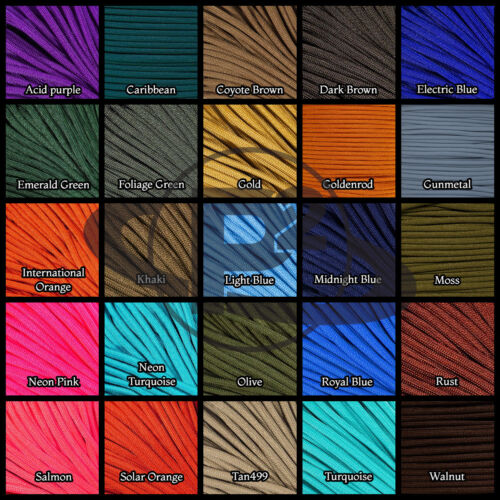 Outdoor Parachute Paracord 550 7 Core Strand 100FT Nylon Survival Cord 10 Colors