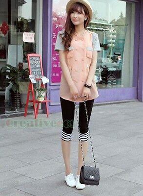 Women's 3/4 Length Striped Cropped Basic Leggings Capri Casual Pants Stretch New