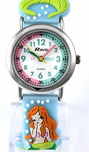 Childs-Girls-Kids-Time-Teacher-Watch-3D-Mermaid-Graphics-Blue-Silicone-Strap