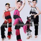 Girl Latin Salsa Ballroom Dance Competition Costume Fringe Tops Pants Clothes XD
