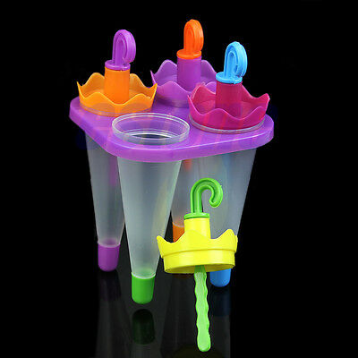 4 Umbrella Shape Frozen Juice Ice Cream Ice-lolly Yogurt Popsicle Maker Molds