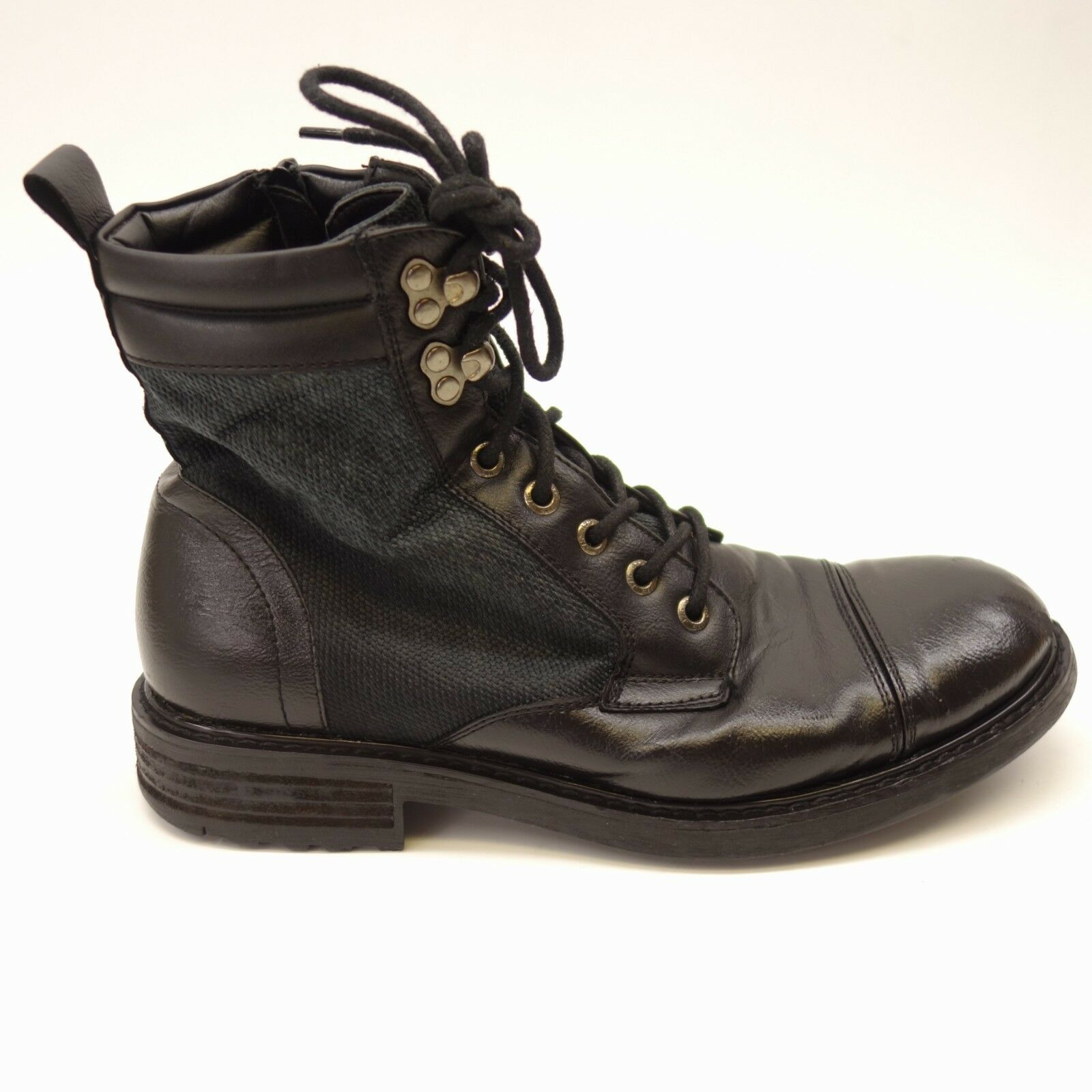 Mens J75 by Jump Garrison Black Leather Cushioned Zip Lace Up Ankle Boots Sz 8