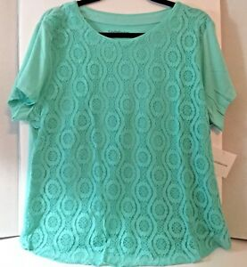 Croft-Barrow-Womens-Top-XL-Short-Sleeve-Lace-Front-Tee-New