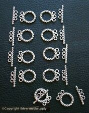10 Rope toggle jewelry clasps 3 strand silver plated necklace bracelets fpc351