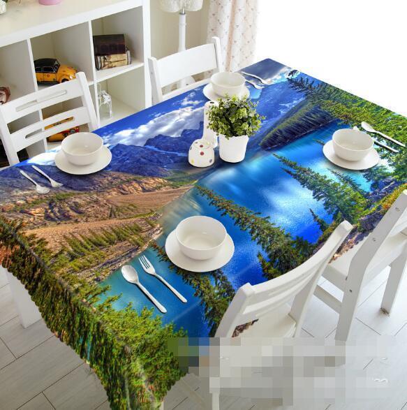 3D bleu Lake 137 Tablecloth Table Cover Cloth Birthday Party Event AJ WALLPAPER