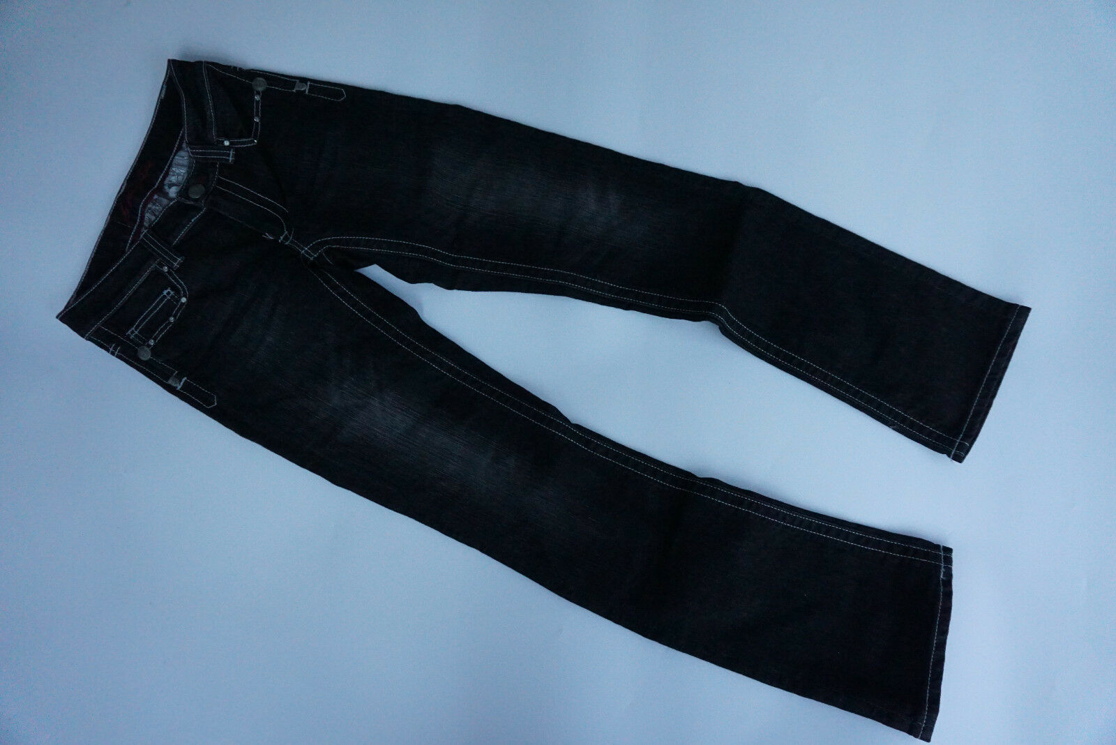 blueE FIRE pink Stretch Jeans Hose straight W28 L32 black used destroyed NEU=