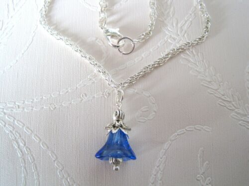 BLUEBELL COBALT BLUE GLASS BELL FLOWER SP Necklace 17 inch chain GIFT POUCH