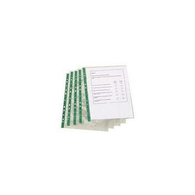 A4 Punched Pockets 100 or 500 Deluxe Glass Clear 60 Micron White Strip Pocket