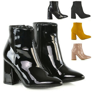 Womens-Pointed-Ankle-Boots-Block-Mid-High-Heel-Ladies-Zip-Up-Booties-Shoes-Size
