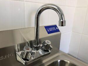 """Wall Mount Hand Sink Faucet 4"""" Center w/ Gooseneck Spout - Commercial"""