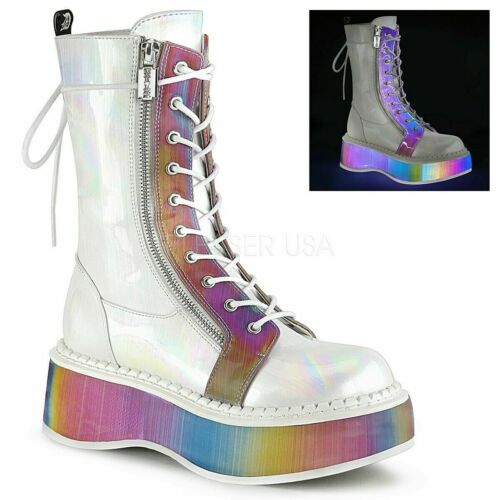 "Demonia 2"" Rainbow Platform White Mid-Calf Punk Go"