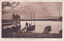THONON-LES-BAINS effet du soir sur le port barques timbrée 1936
