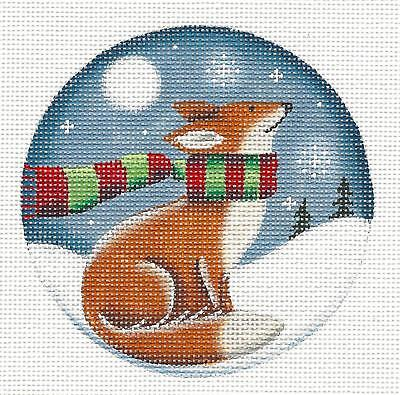 Winter Fox /& Chickadees Ornament handpainted Needlepoint Canvas by Rebecca Wood