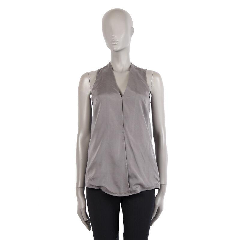 40131 auth T ALEXANDER WANG grau silk Tank-Top Sleeveless Shirt XS