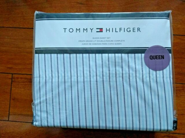 Tommy Hilfiger Queen Sheet Set Oxford Stripe French Bulldog Frenchies 4 Pieces