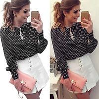 Women Polka Dots Chiffon Black Blouse T-shirt Long Sleeve Shirt Shirt Tunic Tops