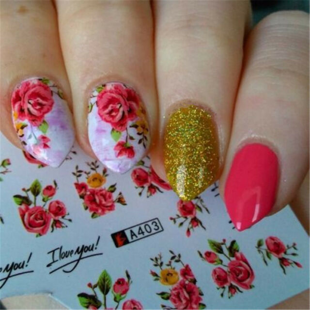 2 Sheets Pink Rose Flower Pattern Nail Art Water Decal Transfer ...