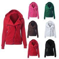 Women Ladies Slim Zip Up Top Hoodie Hooded Sweatshirt Coat Jacket Sweater Jumper