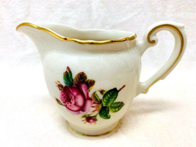 Syracuse China Creamer Victoria Shape Federal Pink Rose Gold Trim Edge 3 1/2