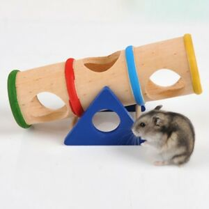 Wooden Toy Pet Hamster Rat Mouse Bird House Cage Nest Seesaw Exercise Play Toys