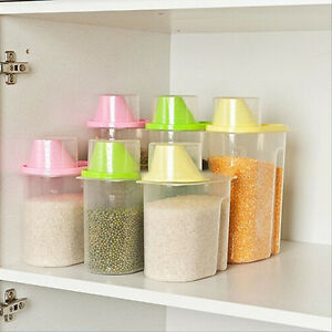 Plastic Kitchen Food Cereal Grain Bean Rice Storage Container Box
