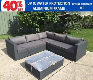 Image Is Loading Wicker Rattan Garden Corner Set Indoor Outdoor Sofa