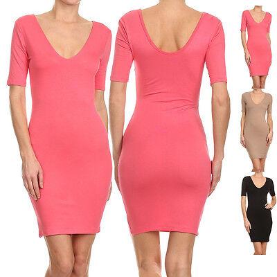 Sexy V Neck & Deep Back Short Sleeve Bodycon Bandage Stretchy Party Mini Dress