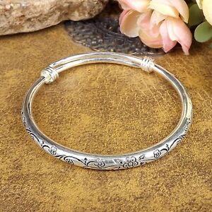 Vintage-Women-Tibetan-Silver-Bangle-Carved-Plum-Blossom-Bracelets-Adjustable