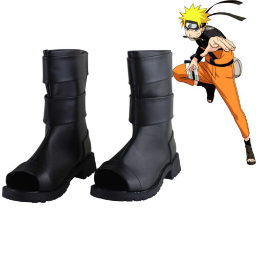 Naruto Black Pu Leather Shoes Naruto Uzumaki Cosplay Shoes Boots
