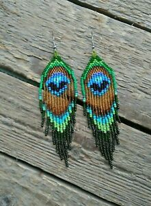 Peacock-Feather-Seed-bead-Earring-Dangle-beaded-earrings-Fringe-Beadwork-earring
