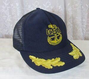 84fa7a7fe0b VTG USN MESH TRUCKER SNAPBACK HAT Made In USA Anchor Cap United ...