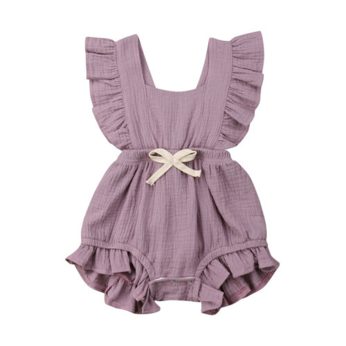 Newborn Baby Boy Girl Infant Ruffle Solid Romper Bodysuit Jumpsuit Clothes Dress