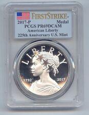 2017 P US Mint 225th Anniversary American Liberty Silver Medal PCGS PR69DCAM
