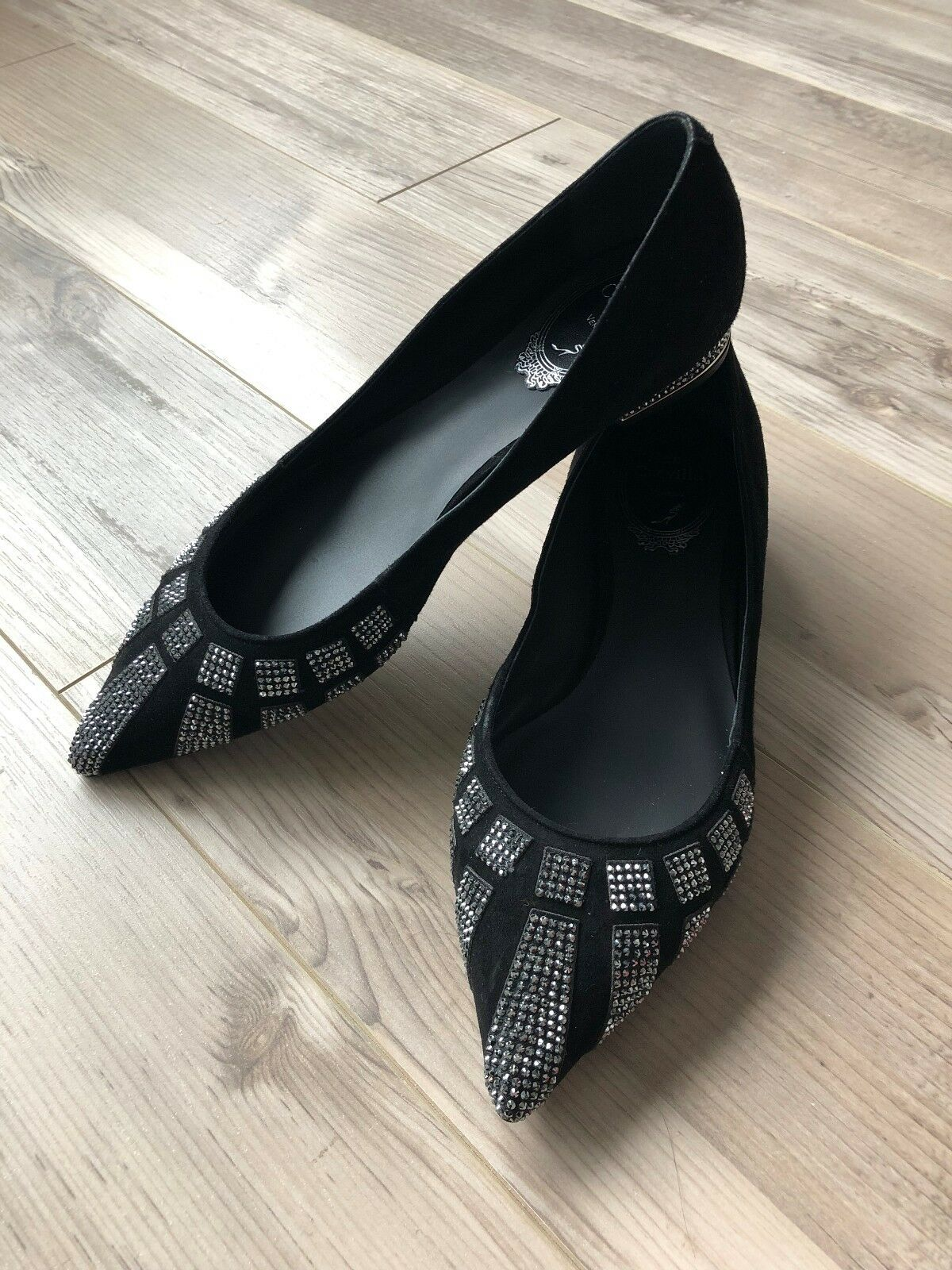 Rene caovilla, ballerina, black suede jet hematite strass, size 36, brand new