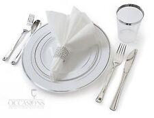 Wedding Disposable Plastic Plates, silverware, silver rimmed tumblers + Napkins