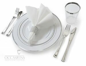 Image is loading Wedding-Disposable-Plastic-Plates -silverware-silver-rimmed-tumblers-  sc 1 st  eBay & Wedding Disposable Plastic Plates silverware silver rimmed ...