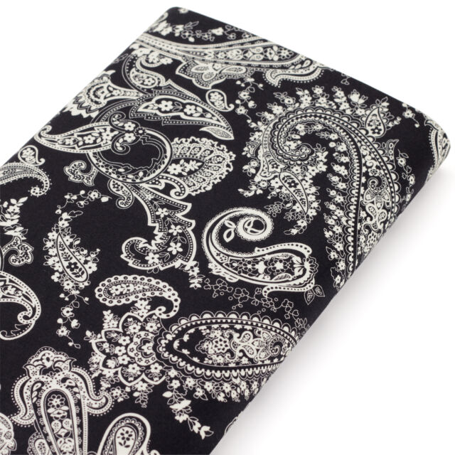 FQ. CLASSIC PAISLEY FLOWER BANDANA SCARF NAPKIN Vintage Retro Cotton Fabric VK55