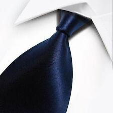 New Solid Dark Blue Classic Men's Silk Tie UK Seller Father Son Wedding Gift