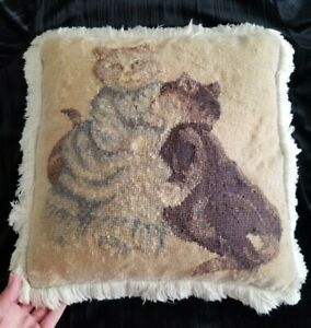 Cat-Needlepoint-Pillow-Vintage-Wool-thread-Handmade-Charming